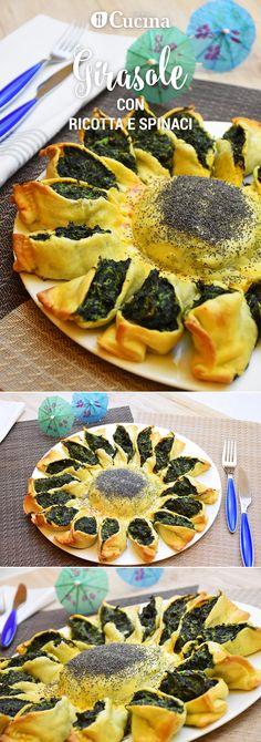 Un girasole di brisée con ricotta e spinaci sarà un antipasto originale e d'effetto, ideale per buffet e giorni di festa. Ecco la videoricetta