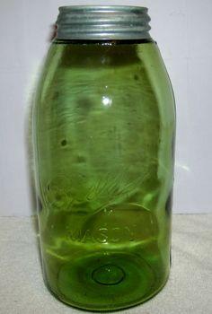 "RARE Bold Olive Green Amber Ball 3 L Mason 1 2 Gal Jar w Dropped ""A"" RB 234   eBay"