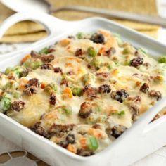 Receita de Batatas à grega - batatas em um refratário quadrado (22 x 22 cm) untado. Cubra com metade do Creme e o queijo prato. Coloque o restante das bata...