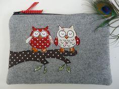Handmade Cosmetic Makeup Bag Purse Owl Applique Grey wool fabric Red Spot Lining