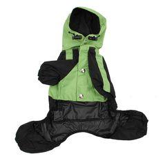 Dog Coat Raincoat Waterproof Jacket Dog Raincoat rainwear, Green S