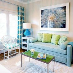 House of Turquoise: Tracy Hardenburg Designs-Artichoke Lamp! My Living Room, Home And Living, Living Room Decor, Kitchen Living, Small Living, House Of Turquoise, Style At Home, Turquoise Curtains, Turquoise Sofa