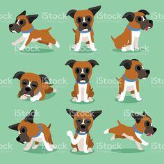 Мультфильм персонаж боксер собака позы Сток Вектор Стоковая фотография