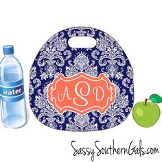Monogrammed lunch bag! Choose from a wide array of patterns and colors. Be the envy of your coworkers with this adorable lunch tote! www.SassySouthernGals.com ~Monogrammed Gifts & Accessories~