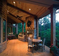 Awesome porch with fireplace.  Great outdoor living space #rusticfurniturelivingroom