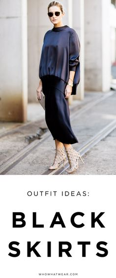 Tons of outfit ideas you can do with a black skirt