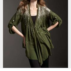 Elizabeth and James Tokyo Sequin Top New condition. Gorgeous top!! Neiman Marcus exclusive. Olive with sequined shoulders. V neckline with trim that extends to hem. Button fastens at Empire waist. Long sleeves can be worn at three-quarter length with button tab detail. Sequined back yoke. Pleated shirttail hem. Silk. Imported. Stock Photos Neimanmarcus.com The Chic Shed; A Current and Classic Fashion Curation.  10% OFF BUNDLES I ❤️ THE OFFER BUTTON ❌NO PP, TRADES, HOLDS❌ Elizabeth and James…