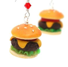 Cheeseburger Inedible Dangle Earrings - Perfect to wear to the weekend bbq!