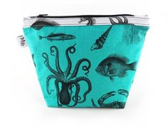 Handmade Sea Creatures Makeup Bag Turquoise from maxandrosie.co.uk