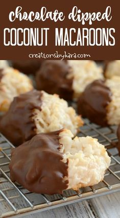 Chocolate Dipped Coconut Macaroons- a delicious cookie recipe that will please any coconut lover! #coconutmacarrons #dippedmacaroons #chocolatemacaroons #coconut #macaroons -from Creations by Kara Chocolate Dipped Coconut Macaroons Recipe, Chocolate Macaroons, Chocolate Recipes, Chocolate Chip Cookies, Delicious Cookie Recipes, Yummy Cookies, Real Food Recipes, Quick Cookies, Simple Recipes
