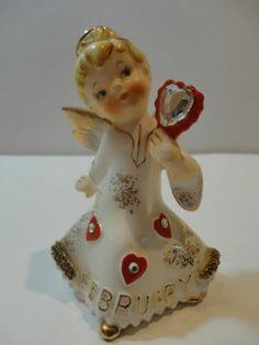 "VTG Lefton Valentine's Day ""FEBRUARY"" Angel with Halo Rare #1987J"