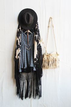 Free People fringe outfit - black festival hat, blue prairie print tunic, tie dye kimono, fringe beaded bag