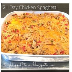 21 Day Chicken Spaghetti, Healthy Chicken Spaghetti, 21 Day Pasta Bake, Cheesy Pasta Bake (clean dinners 21 day fix) Fixate Recipes, Healthy Chicken Recipes, Pasta Recipes, Casserole Recipes, Cooking Recipes, Recipes Dinner, Healthy Meals, Healthy Chicken Casserole, Healthy Eating
