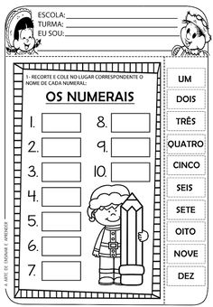 A Arte de Ensinar e Aprender: Atividades numerais 1 a 10 Portuguese Lessons, Preschool Worksheets, Lessons For Kids, Pre School, Kids Playing, First Grade, English Activities, Learn To Read, Math Games
