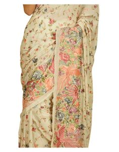 Masterpiece Parsi Gara Hand Embroidered Pure Crepe Saree ( Made on Order)