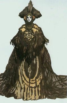 Padme' Amidala Star Wars: Episode I - The Phantom Menace. Escape from Naboo gown. Queen Amidala never actually wears this costume. Her handmaiden, Sabe, wears it. http://www.rebelshaven.com/SWFFAQ/images/escape/escapeconcept.jpg