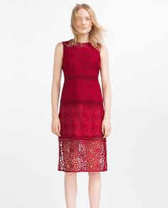 ZARA - WOMAN - CONTRAST EMBROIDERED DRESS WITH LACE