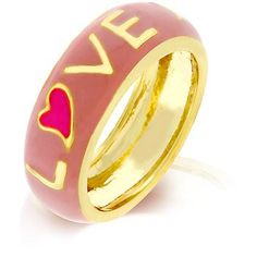 18k Gold Plated Pink Love Enamel Ring Polished into a Lustrous Goldtone Finish