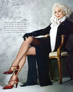 Carmen Dell'Orefice. She is perfection - right down to the red shoes. Trends come & go... style has no shelf life!