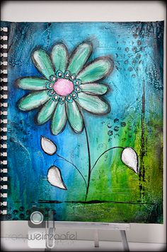 """I love it when I have that feeling of creativityflowing that I just need to release. Mymotto is""""An Art Journal a Day keeps the mental blues away"""". Every day I am trying to do something new….just enjoy the creative process for me and see where …"""
