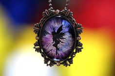 Stunning Briliant Black Fairy with Fire Fantasy Glass Cameo Pendant Necklace Very Good Handcraft