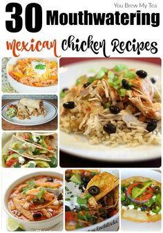 30 Mouthwatering Mexican Chicken Recipes Don't miss our top 30 Mexican Chicken Recipes! Amazing choices including chicken tacos, chicken enchiladas, and tons of easy casserole recipes! Lunch Recipes, Easy Dinner Recipes, Healthy Recipes, Easy Recipes, Dinner Ideas, Dinner Options, Savoury Recipes, Amazing Recipes, Healthy Treats