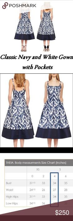 LAST CALL NWT Navy Print White Satin Formal Dress Price firm. Timeless navy blue white printed satin cocktail dress with solid panel circling the tea length hem, square neck, back zipper, side seam pocket, fully lined. Fit and flare silhouette and tea length are reminiscent of Audrey Hepburn & Jackie Kennedy. Best part? POCKETS!! Perfect for a wedding, garden party, shower, graduation & other special event. Was planning to wear to a wedding, but pregnant. Pet and smoke free home. Couture…