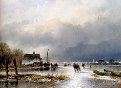 "Andreas-Schelfhout - ""A Winter Landscape with Skaters""  (Andreas Schelfhout was a Dutch painter, etcher and lithographer, known for his landscape paintings. He belongs to the Romantic movement. His Dutch winter scenes and frozen canals with skaters were already famous during his lifetime.)"