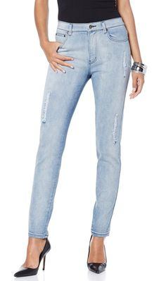 These skinnies by@DianeGilman are strategically distressed, giving even the most conservative ladies a defiant edge!