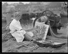 Woman painting at Gloucester, MA.  (BPL)