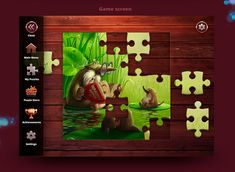 GUI and Character for Puzzle game Puzzle Store, Game Ui, Game Design, Jigsaw Puzzles, Creative, Illustration, Artwork, Character, Match 3