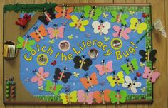 "Spring Reading Early Childhood Bulletin Board Idea ""Catch the Reading Bug"" with Bug themed/Spring books"
