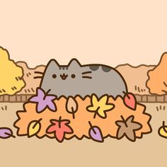 Pusheen graces the leaves with her presence