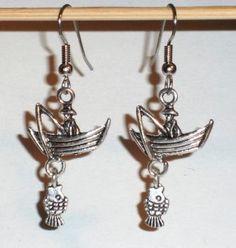 Ohrringe Schiff Boot Fisch Edelstahl Ohrhänger Tibetan Silber Ohrschmuck Damen Neuware