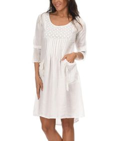 Look at this White Coraly Linen Dress on #zulily today!