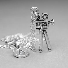 Movie Camera Necklace Film charm silver by chrysdesignsjewelry, $18.00