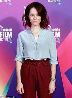 Style queen: Claire Foy looked worlds away from her royal counterpart on Wednesday, as she made a stylish arrival at the photocall for Breathe, at the 61st BFI London Film Festival