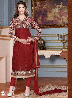You will be the center of attention in this shapely maroon embroidered, lace & patch border work designer salwar kameez product comes with a matching bottom and dupatta.