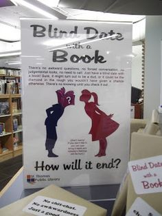 Library Displays - blind dates This will be in my book store!!!