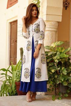 Blue Mango Motif Set African Dress, Indian Dresses, Indian Outfits, Hijab Fashion, Fashion Dresses, Casual Dresses, Churidar Designs, Indian Designer Wear, Indian Wear