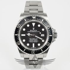 #Rolex Sea-Dweller Black Ceramic Bezel Black Dial Chromalight Markers Stainless Steel Oyster Bracelet Dive Watch #116600 #OCWatchCompany #SwissArmy #WatchStore #WalnutCreek