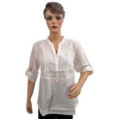 White Cotton Tunic Tops Women's Half Sleeve Embroidered Fashion Top XXL (Apparel)  http://www.picter.org/?p=B007LHJ39O