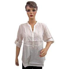 Tunic Top Cotton White Embroidered Classic Front Button Women Kurta Xl Size (Apparel)