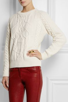 Alexander McQueen|Cable-knit wool and cashmere-blend sweater|NET-A-PORTER.COM