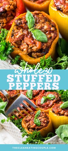 Whole30 Stuffed Peppers are an easy Italian dinner. These paleo stuffed peppers are healthy, gluten free + dairy free and can be made in the instant pot, slow cooker or oven. I use cauliflower rice and you'd never know - but you can use regular rice too! Delicious with ground beef, turkey, or even ground chicken! #paleo #whole30 #lowcarb #healthy Easy Whole 30 Recipes, Easy Clean Eating Recipes, Healthy Gluten Free Recipes, Healthy Crockpot Recipes, Healthy Meal Prep, Lunch Recipes, Healthy Dinner Recipes, Real Food Recipes, Whole30 Recipes