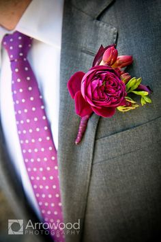 Fuchsia Peony Boutonniere - but with navy ribbon Boutonnieres, Wedding Boutonniere, Mod Wedding, Wedding Reception, Reception Ideas, Wedding Ideas, Raspberry Wedding, Hot Pink Weddings, Wedding Bouquets
