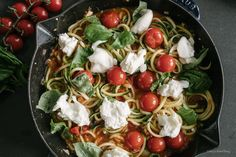 Made a classic Italian dish extra-healthy with zoodles, then made it not so healthy by adding burrata, because burrata. Zoodle Recipes, Pasta Recipes, Vegetarian Recipes, Dinner Recipes, Healthy Recipes, Healthy Meals, Happy Healthy, Easy Family Meals, Easy Meals