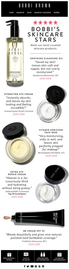 Bobbi Brown customer review email. Subject line, The Best of Bobbi Skincare + Free Shipping