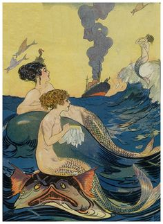 """""""An Old Acquaintance"""" Gordon Ross Illustration for Puck Magazine (Look at the mermaid doing embroidery while seated on a sea-monster's head! Art And Illustration, Victorian Illustration, Mermaid Illustration, Vintage Mermaid, Mermaid Art, Alphonse Mucha, Kunst Poster, Mermaids And Mermen, Sea Art"""