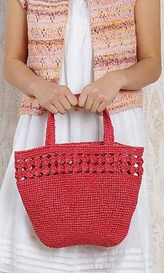 Crochet Japanese handbag--so cute.Ravelry: Amian Eco Bag pattern by Pierrot (Gosyo Co.Japanese version available here. Both English and Japanese versions are fully charted using standard knitting and& crochet symbols.crochet - bag - like idea of decorativ Crotchet Bags, Crochet Tote, Crochet Handbags, Crochet Purses, Knitted Bags, Knit Or Crochet, Free Crochet, Crochet Symbols, Crochet Patterns